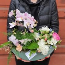 Aranjament cu orhidee și flori proaspete