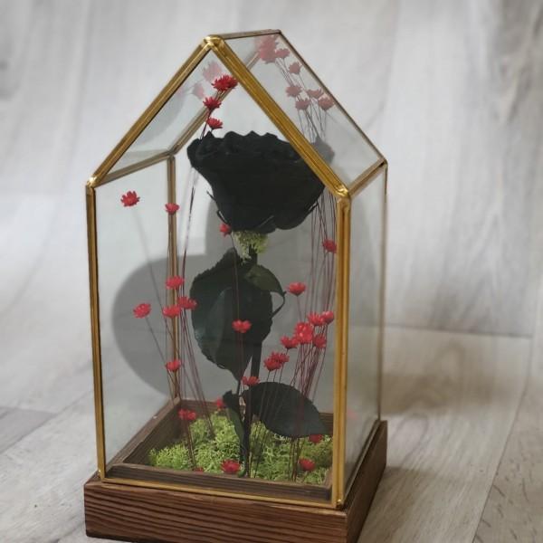 Suport de sticlă cu trandafir stabilizat negru
