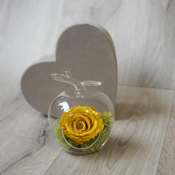 Glob de sticlă cu trandafir galben stabilizat