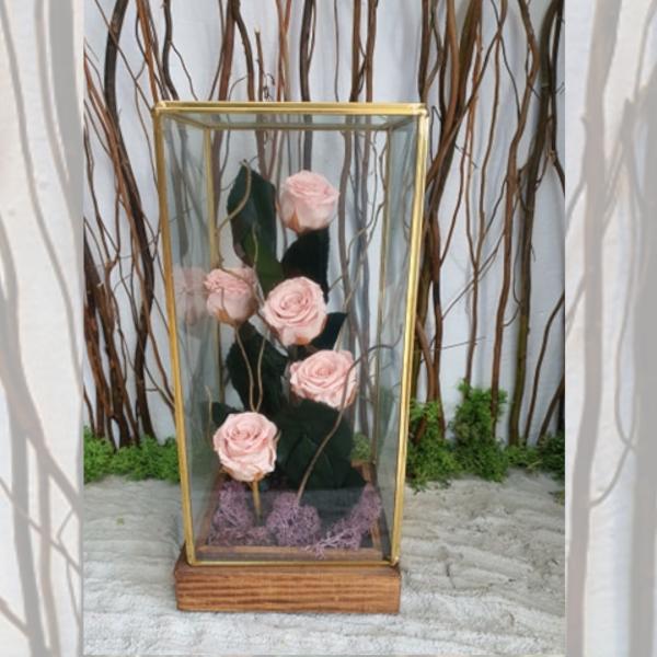 Suport de sticlă cu minitrandafiri stabilizați roz