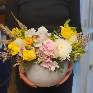 Aranjament cu flori de orhidee în dovleac