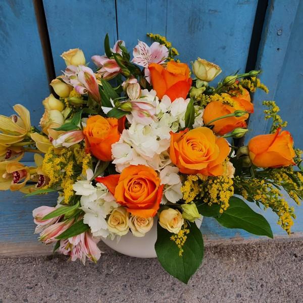 Aranjament cu flori galbene