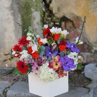 Aranjament floral colorat cu orhidee
